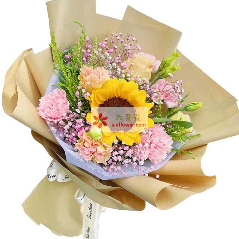 6朵粉色康乃馨向日葵,幸福永存