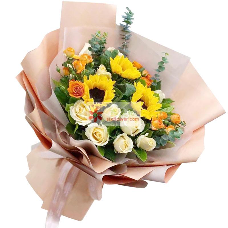 3朵向日葵,11朵香槟玫瑰,愿你的人生一路顺风