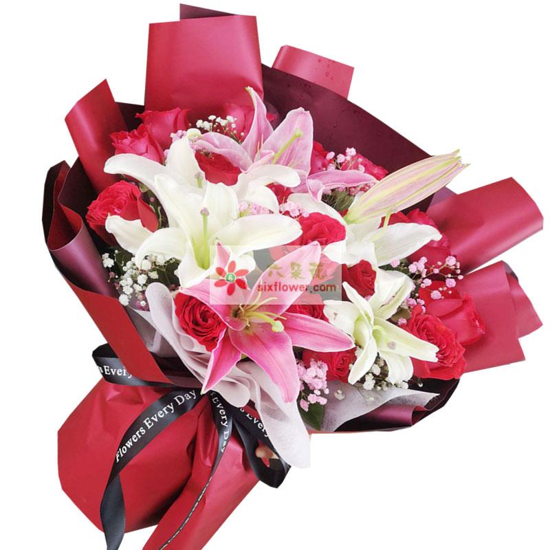 19朵红玫瑰,2支百合,永远的爱恋和幸福