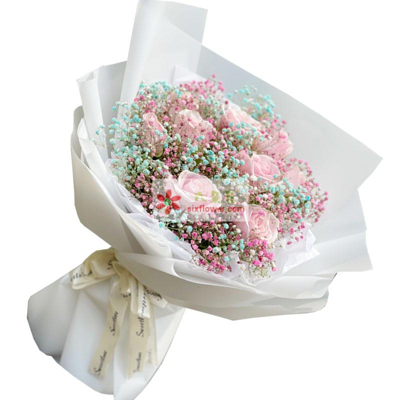 11朵戴安娜粉玫瑰满天星,爱情人生