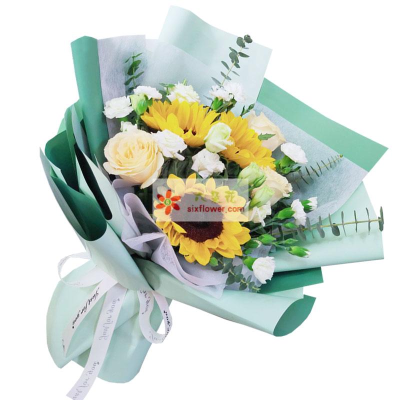 3朵向日葵香槟玫瑰,幸福一辈子
