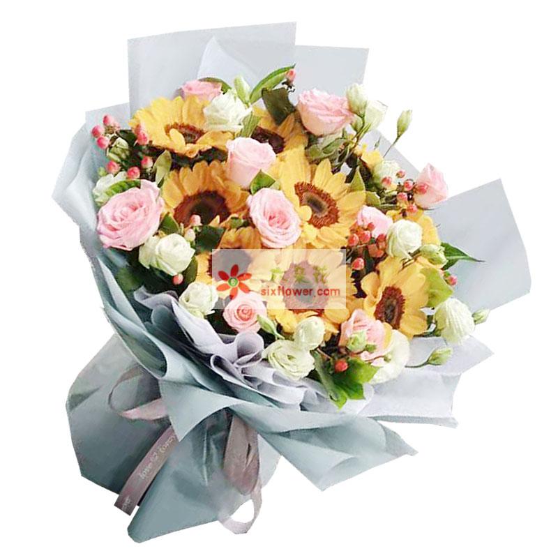 9朵向日葵粉玫瑰桔梗,您的慈爱