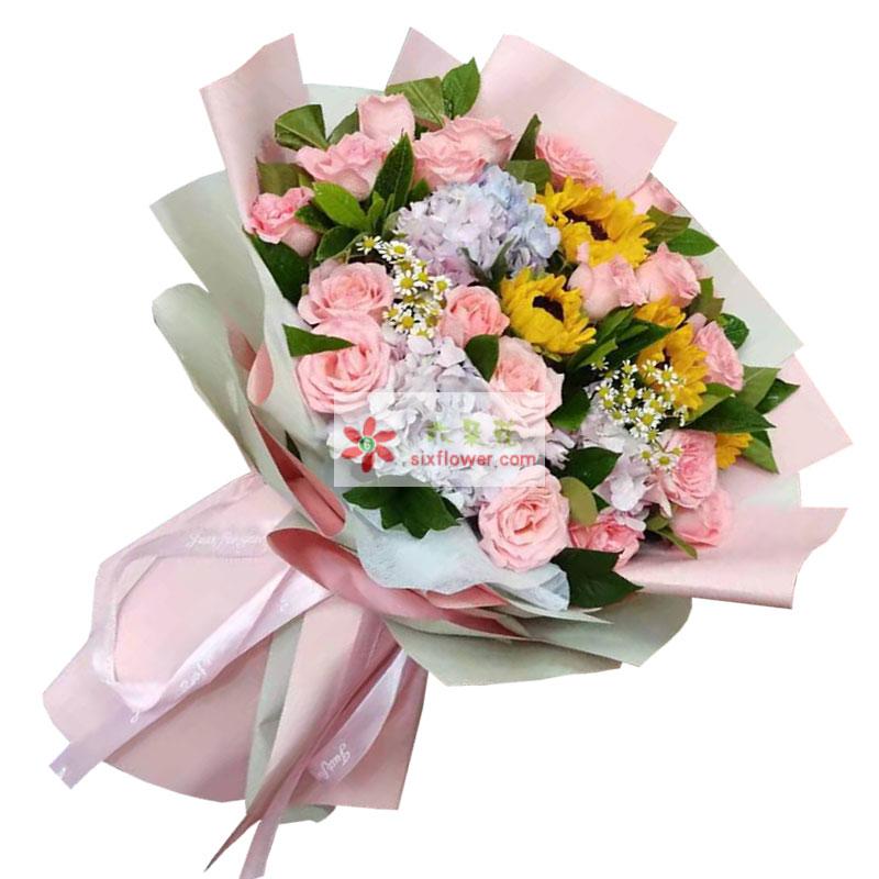 18朵戴安娜粉玫瑰向日葵绣球花,幸福美满