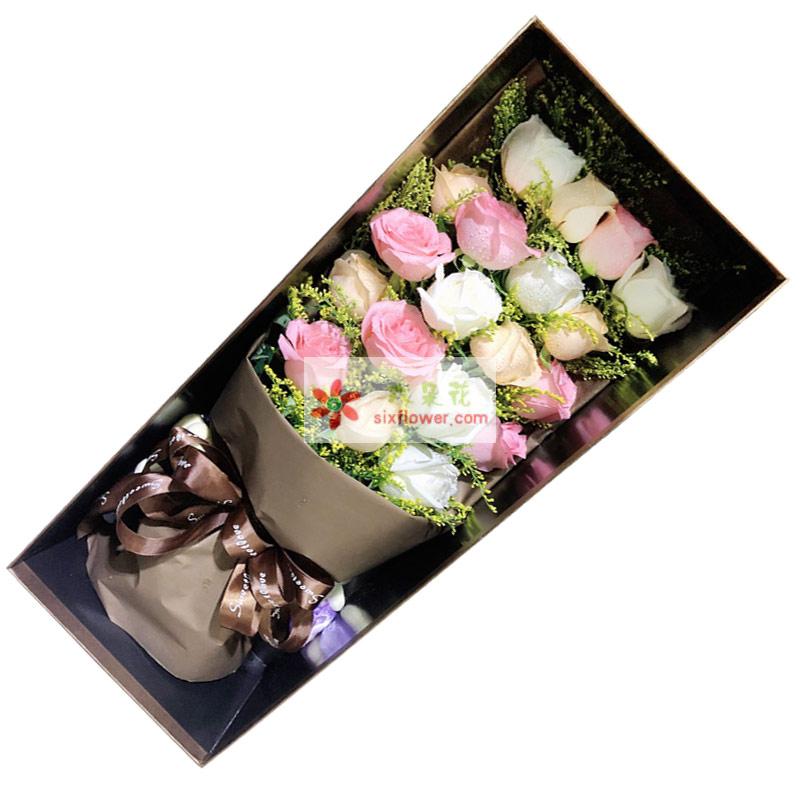 19朵玫瑰礼盒,爱情一路无阻
