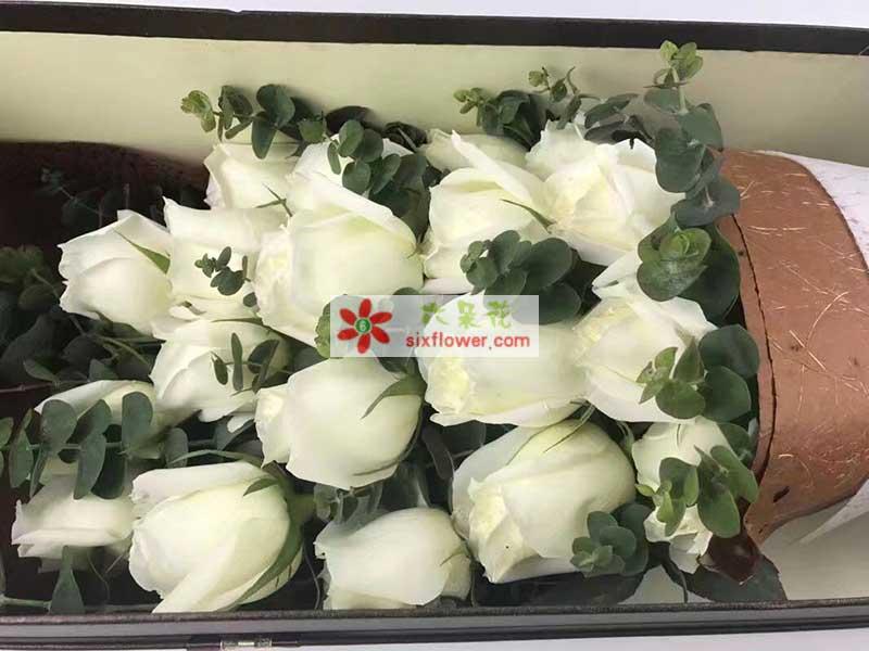 16枝白色玫瑰,尤加利丰满
