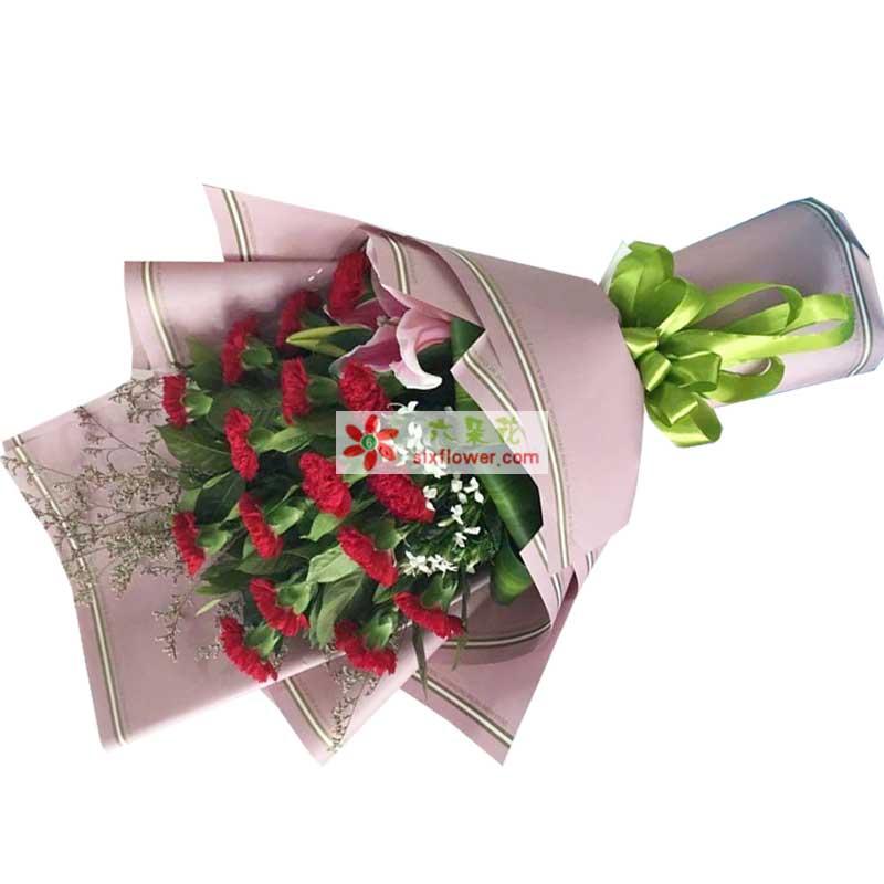 16枝红色康乃馨,情人草、相思梅、配叶点缀