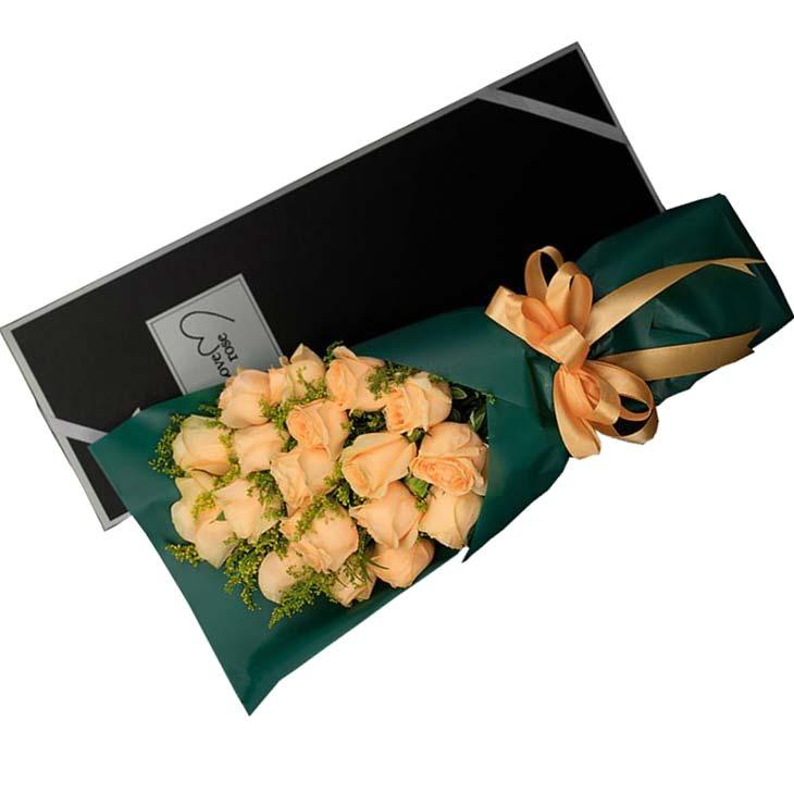 19枝香槟玫瑰,黄英丰满